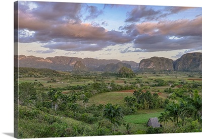 Cuba. Dawn breaking over the valley of Vinales