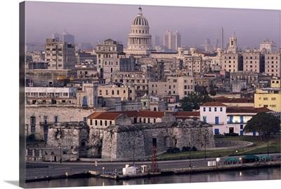 Cuba, old Havana, cityscape at dusk