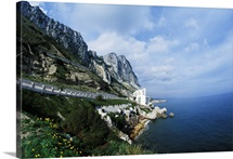 Famous Rock Of Gibraltar With Mediterranean Cliffs In Gibraltar