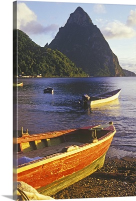 Fishing boats and Petit Piton, Soufriere, St Lucia, Caribbean