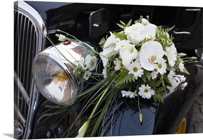 France, Albi, 1940's-Era Citroen Traction-Avant Car With Wedding Bouquet