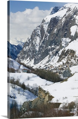 France, French Alps (Isere), La Grave, High View Of Town From Route N91