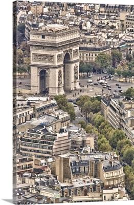 France, Paris, Arc de Triomphe, view from Eiffel Tower