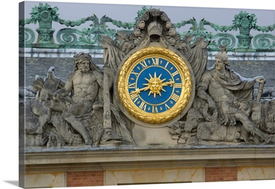 France, Versailles, statue and clock detail