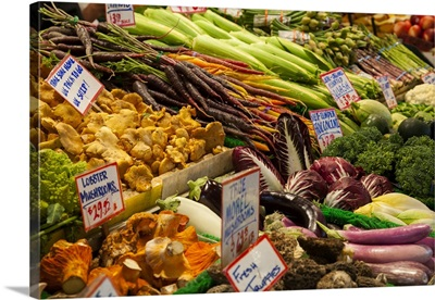 Fresh Vegetables For Sale At Pike Place Market In Seattle, Washington State