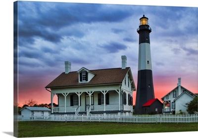 Georgia, Tybee Island, Tybee light house at sunset
