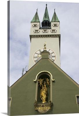Germany, Straubing, clock tower on church