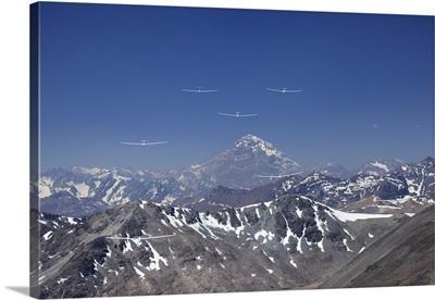 Gliders Racing in FAI World Sailplane Grand Prix, Andes Mountains, Chile