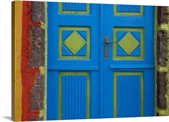 Greece Santorini Thira Oia Blue And Lime Green Door Colors