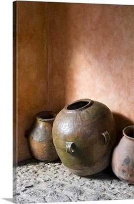 Guatemala, Antigua, pottery decorating the corner of a hotel in Antigua
