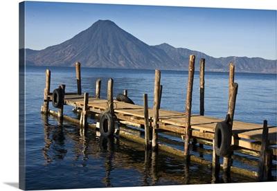 Guatemala, Lake Atitlan, Panajachel,  morning light on lake pier