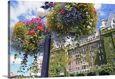 Hanging flowers, Empress Hotel, Victoria, British Columbia, Canada