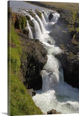Iceland, Kolugljufur waterfall and canyon