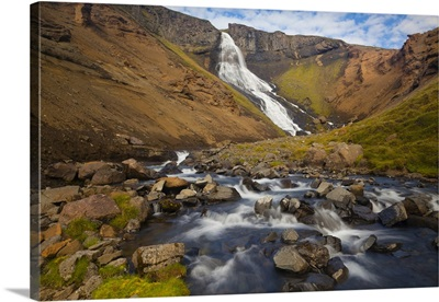 Iceland, Random Waterfall In The North, On The Way To Myvatn