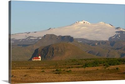 Iceland, Snaefellsnes Peninsula, Hellissandur, Snaefellsjokull glacier