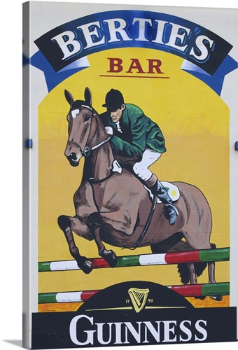 Ireland, Dundrum. Close-up of sign on exterior of Bertie\'s Bar Wall ...
