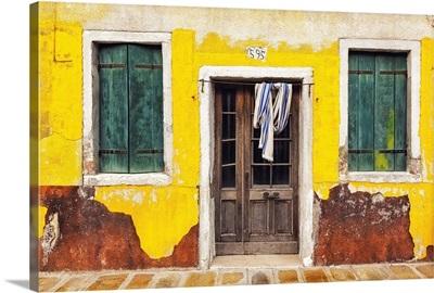 Italy, Burano, Weathered House Exterior