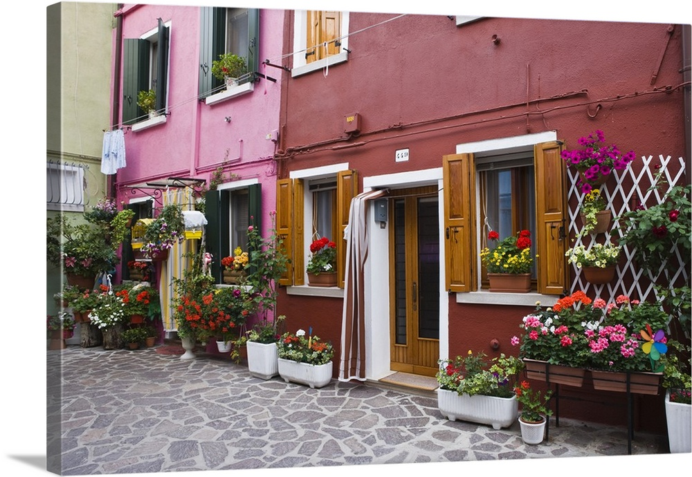 Italy, Venice, Burano. Multi,colored houses with flowers outside