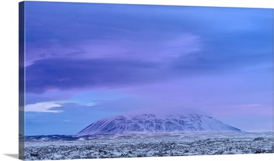 Lava field Dimmuborgir, near lake Myvatn in the highlands of Iceland in deep snow