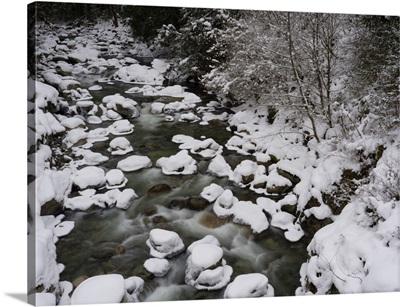 Long Exposure Of River In Winter In Squamish, British Columbia, Canada