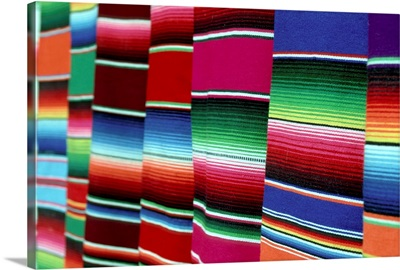 Mexico, Oaxaca, colored blankets for sale