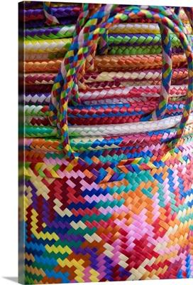 Mexico, Oaxaca Province, Oaxaca, woven baskets on display at market