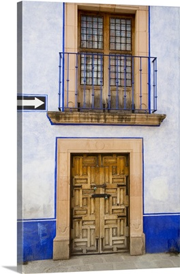 Mexico, ornate carved wooden door in San Miguel