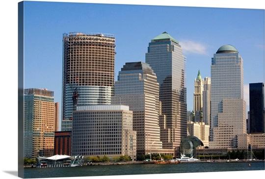 Modern office buildings, skyscrapers along lower West Side in NYC ...