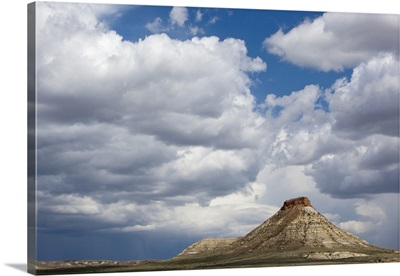 Montana, Terry, Gathering storm clouds over hoodoo in badlands of eastern Montana