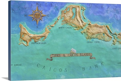 Mural Map of Turks and Caicos Islands