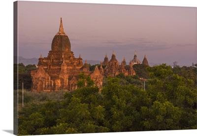 Myanmar. Bagan. Temples of Bagan in the purple pre-dawn light