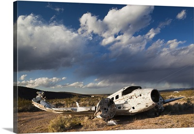 Nevada, Great Basin, Beatty, abandoned small airplane by Angels Ladies Brothel
