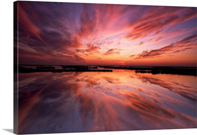 New Jersey, Cape May. Sunset reflection on water