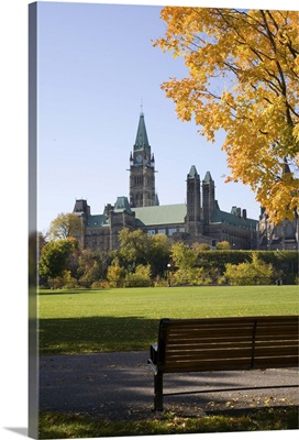 Park bench and trees near Parliment Building in Ottawa, Ontario, Canada