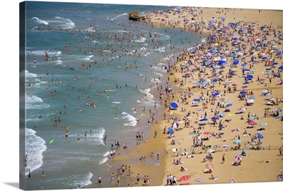 People at the beach and swimming, Black Sea coast of Istanbul, Turkey