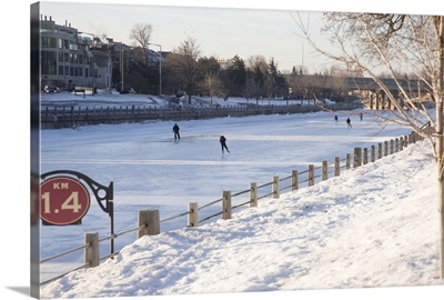 People skating on the frozen canal in winter, Ottawa, Ontario, Canada
