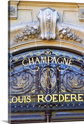 Portico in wrought iron on entrance door to Champagne Louis Roederer, France