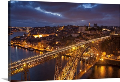 Portugal, Porto, Dom Luis I Bridge lit at night