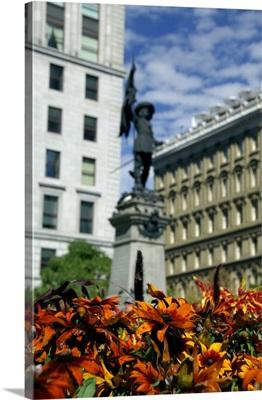 Quebec, Montreal, Place d'Armes, statue of Paul de Chomeday