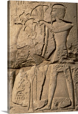 Relief depicting a pharaoh making an offering, Temple of Luxor, Egypt