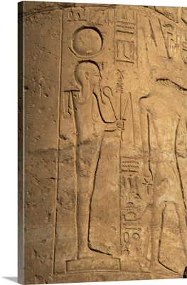 Relief depicting Khonsu, god of the moon, Temple of Luxor, Egypt