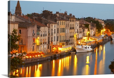 Restaurants Along The L'Herault River. L'Herault River. Agde Town. Languedoc. France