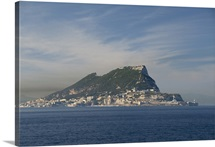 Rock Of Gibraltar. Monolithic Limestone Promontory Off The Tip Of Spain
