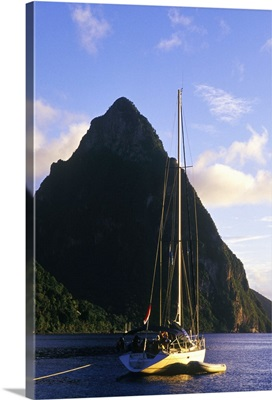 Sailboat in front of Petit Piton, Soufriere, St Lucia, Caribbean