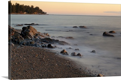 Seascape With Long Exposure At Browning Beach, Sechelt, British Columbia, Canada