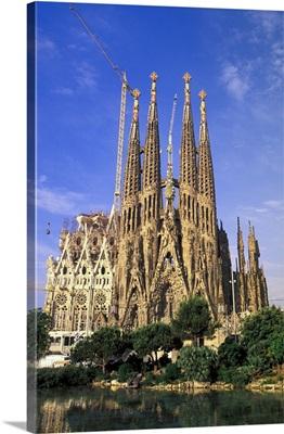 Spain, Barcelona. Sagrada Familia Cathedral, Designed By Antoni Gaudi