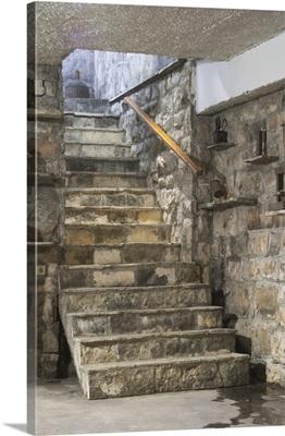 Stairs Leading Down To The Wine Cellar. Matusko Winery. Potmje Village, Croatia