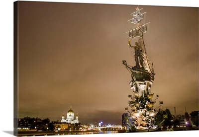 Statue, Peter the Great, Moscow, Russia