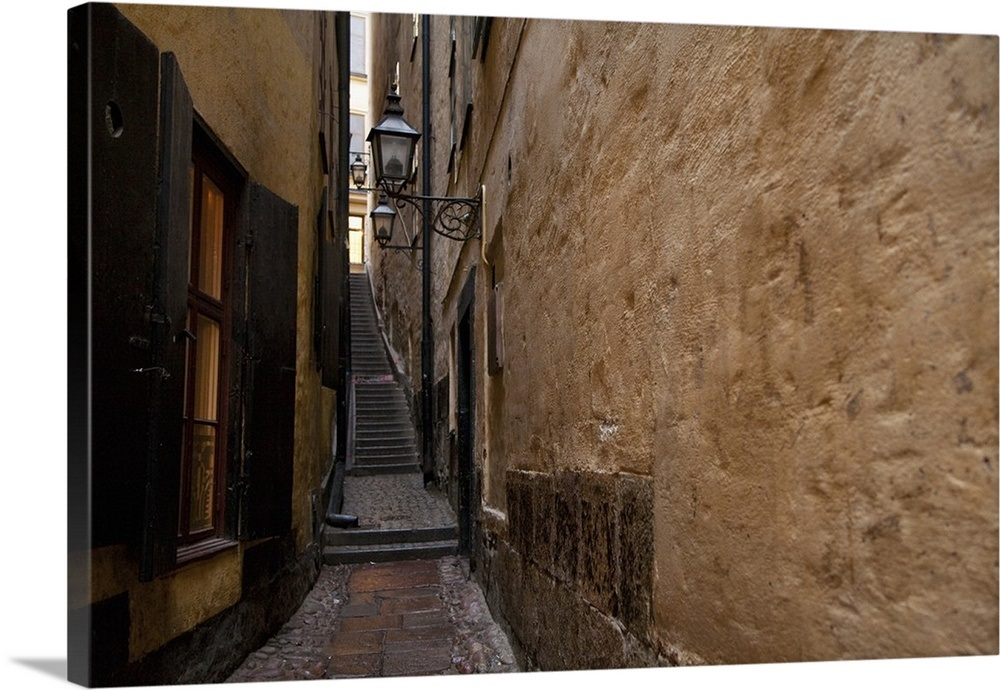 Stockholm Sweden A Narrow Alley Leading To A Staircase Between Two