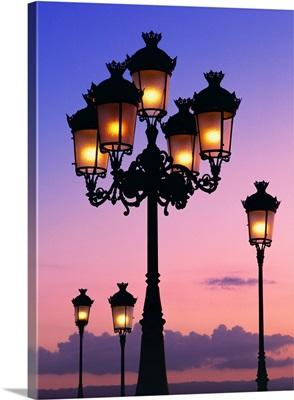 Street lamps just after sunset, San Juan, Puerto Rico